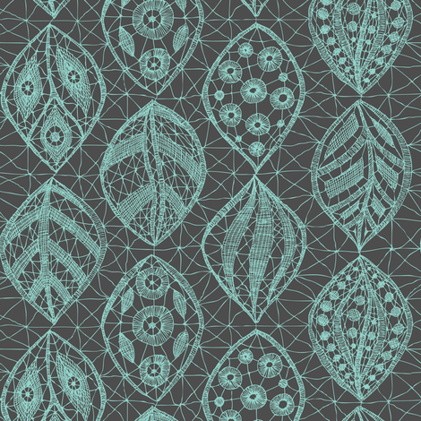 Lace Leaves - Turquoise, Grey   fabric by fernlesliestudio on Spoonflower - custom fabric