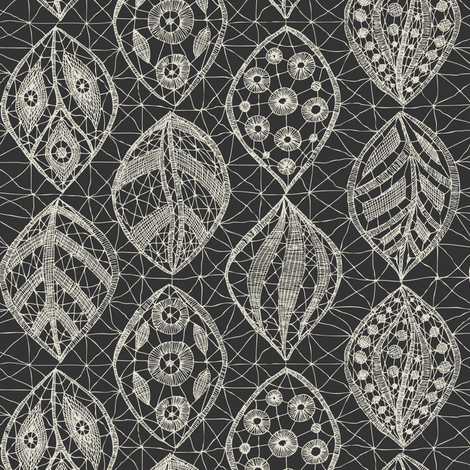 Lace Leaves - Cream / Charcoal fabric by fernlesliestudio on Spoonflower - custom fabric