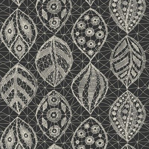 Lace Leaves - Cream On Charcoal