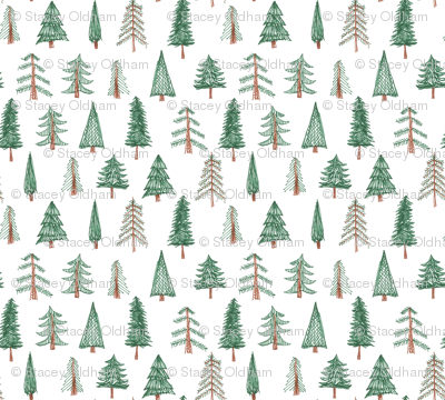 doodle style evergreen pattern