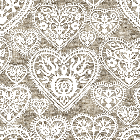 folk lace hearts on linen fabric by mirabelleprint on Spoonflower - custom fabric