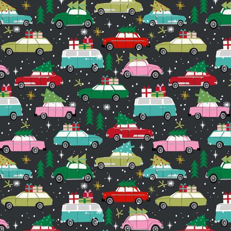 vintage christmas cars holiday xmas christmas fabric tree on car fabric by charlottewinter on Spoonflower - custom fabric