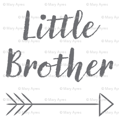 medium little-brother with-arrow-cursive - charcoal