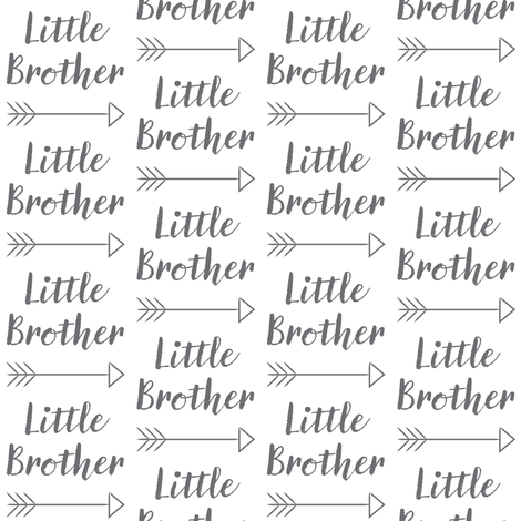 medium little-brother with-arrow-cursive - charcoal fabric by lilcubby on Spoonflower - custom fabric