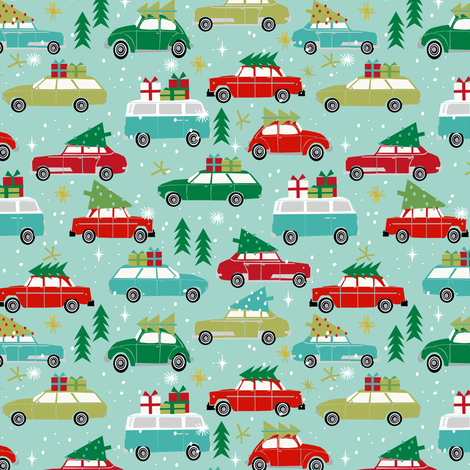 vintage christmas cars holiday xmas christmas fabric tree on car fabric by charlottewinter on Spoonflower - custom fabric