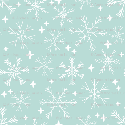 winter snowflakes // mint cute winter hand-drawn snowflake fabric andrea lauren design