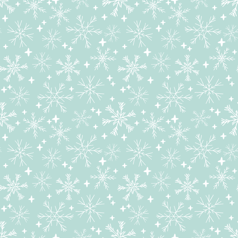 winter snowflakes // mint cute winter hand-drawn snowflake fabric andrea lauren design fabric by andrea_lauren on Spoonflower - custom fabric
