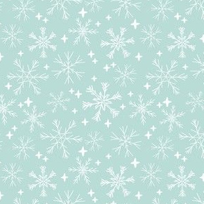 winter snowflakes // mint cute winter hand-drawn snowflake fabric andrea lauren design