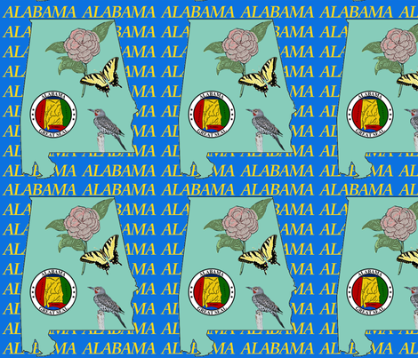 alabama_outline_map fabric by dogdaze_ on Spoonflower - custom fabric