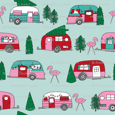 90 Christmas Camper Clipart