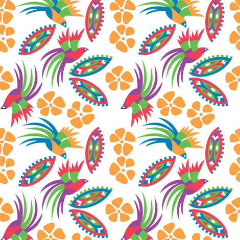 Birds_of_Paradise_white fabric by malolo on Spoonflower - custom fabric