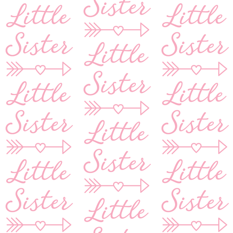 large little-sister-with-heart-arrow-light pink fabric by lilcubby on Spoonflower - custom fabric