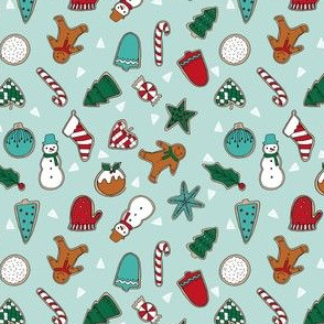 christmas cookies // mint christmas design christmas fabric christmas cookies fabric baking fabric cute christmas design