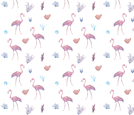 Flamingo Aquatic Pattern fabric by jitterbug_handmade on Spoonflower - custom fabric