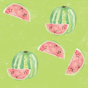 Green Watercolour Watermelon
