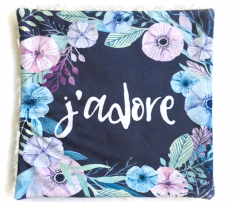 6 French Loveys - J'Adore J'e T'aime - Floral wreath - Blue - Light minty teal