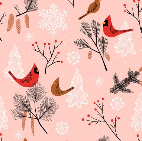 Snowy Tune in Pink fabric by chris_jorge on Spoonflower - custom fabric