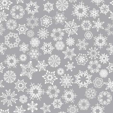 snowflake silver fabric by vo_aka_virginiao on Spoonflower - custom fabric