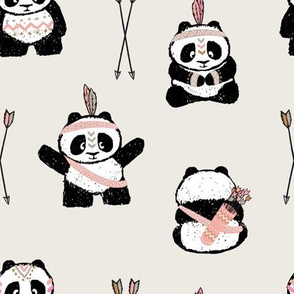 pandas w/ arrows (pink) || pandamonium