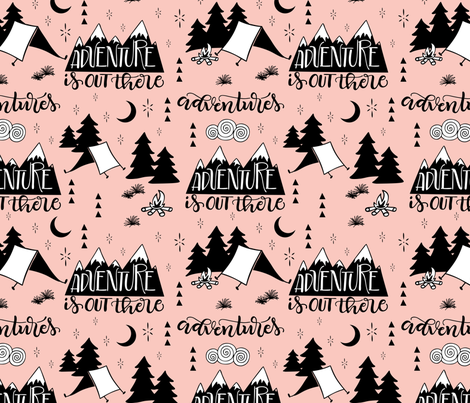Adventure is out there - Pink background fabric by howjoyful on Spoonflower - custom fabric