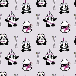 pandas w/ arrows (purple) small scale || pandamonium
