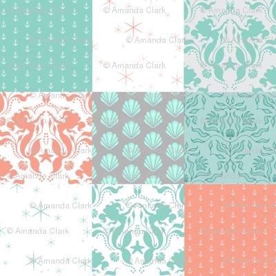 WholeCloth Quilt - Mermaid Sea Fantasy- coral, Aqua, teal seashells, anchors patchwork