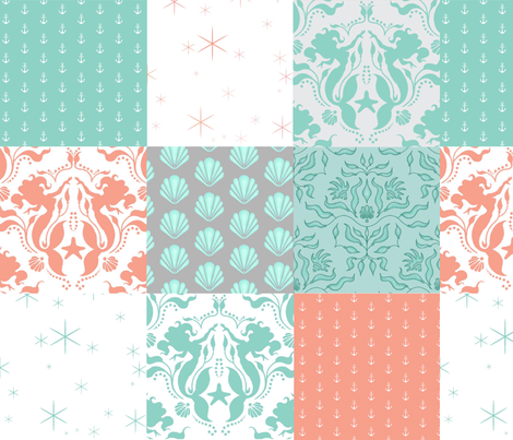 WholeCloth Quilt - Mermaid Sea Fantasy- coral, Aqua, teal seashells, anchors patchwork fabric by sugarpinedesign on Spoonflower - custom fabric