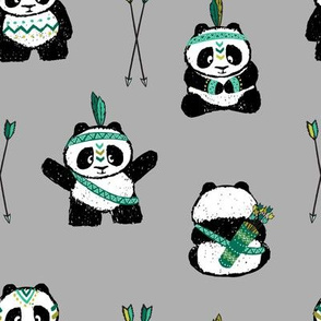 pandas w/ arrows (dark green) || pandamonium
