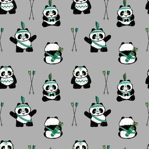 pandas w/ arrows (dark green) small scale || pandamonium