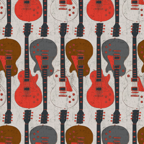 Red Guitars fabric by susiprint on Spoonflower - custom fabric
