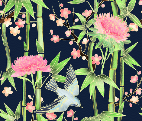 Bamboo, Birds and Blossoms on Indigo fabric by micklyn on Spoonflower - custom fabric