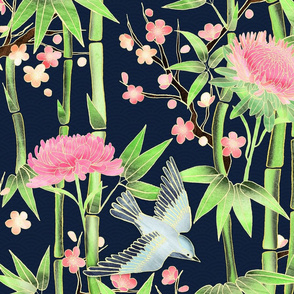 Bamboo, Birds and Blossoms on Indigo