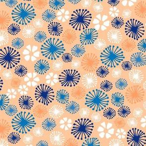 Ditsy Dandelion in Coral
