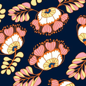 Jungle Blossoms Navy & Pink