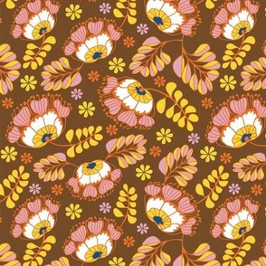 Jungle Blossoms Brown & Pink Small