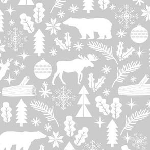 Woodland Christmas grey holiday winter fabric bear reindeer holly christmas tree ornaments