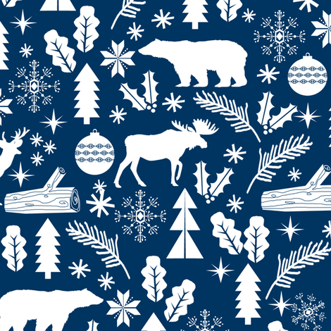 Woodland Christmas navy holiday winter fabric bear reindeer holly christmas tree ornaments fabric by charlottewinter on Spoonflower - custom fabric