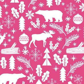 Woodland Christmas pink holiday winter fabric bear reindeer holly christmas tree ornaments