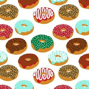 Christmas Holiday donuts white baking christmas sweet treats fabric pattern print tea towels