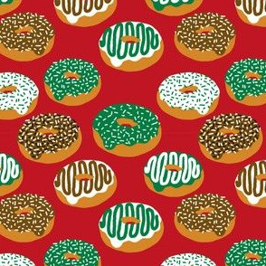 Christmas Holiday donuts red baking christmas sweet treats fabric pattern print tea towels