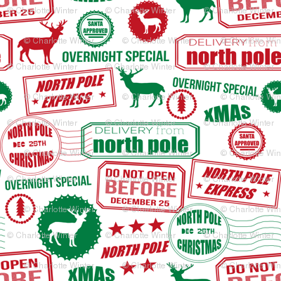 North Pole reindeer red and green wrapping paper bedding cute holiday christmas pattern fabric