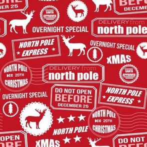 North Pole reindeer red wrapping paper bedding cute holiday christmas pattern fabric