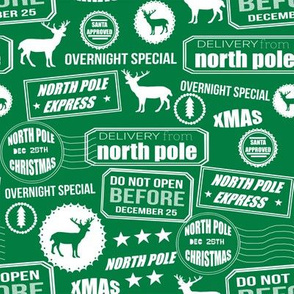 North Pole reindeer green wrapping paper bedding cute holiday christmas pattern fabric