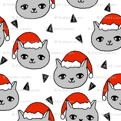 christmas cat // cats christmas fabric, red santa hat, christmas, xmas, holiday, holiday fabric, cute christmas, andrea lauren