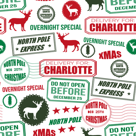CUSTOMIZABLE North Pole reindeer white wrapping paper bedding cute holiday christmas pattern fabric fabric by charlottewinter on Spoonflower - custom fabric