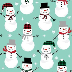 Snowman winter holiday mint christmas fabric snowflakes north pole