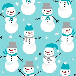 Snowman winter holiday blue christmas fabric snowflakes north pole
