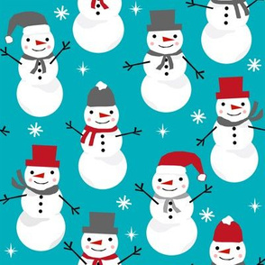 Snowman winter holiday christmas fabric snowflakes north pole