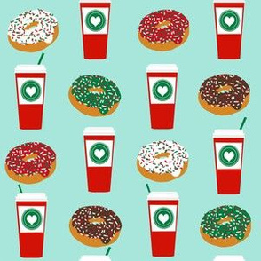 Donuts and coffee christmas fabric holiday themed patterns for sewing clothing and home