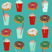 Donuts and coffee christmas fabric teal holiday themed patterns for sewing clothing and home decor